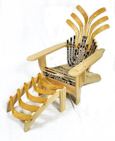 Cool adirondack style chair made of hockey sticks