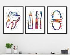 Dental Hygienist Gift Watercolor Print Office Decor Toothpaste and Toothbrush Dentistry Art Dentist Art, Gifts For Dentist, Dental Office Decor, Dental Office Design, Dental Wallpaper, Dental Photos, Dental Posters, Dental Hygienist, Dental Care