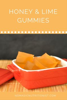 Healthy homemade gelatin gummies with honey & lime.