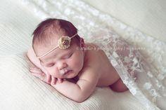 Burlap and Lace Newborn Headband, newborn photo prop, photography prop, vintage headband, newborn tieback, hair accessory, head band