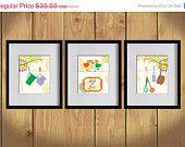 ON SALE Kitchen Art Print - Hanging Lovely Utensils, Lovebirds, Floral  - Set of 3 - 8X10 - Green, Wisteria, Orange - No. KB005-3