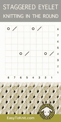 Staggered Eyelet in the round - lochmuster sitricken Lace Knitting Stitches, Lace Knitting Patterns, Knitting Charts, Knitting Socks, Baby Knitting, Stitch Patterns, Knitting Machine, Lace Patterns, Crochet Teddy