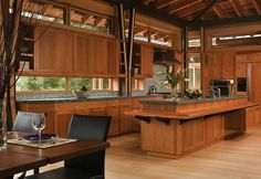 I like the horizontal window in between the cabinets and the countertop