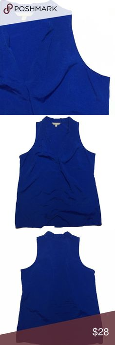 "Banana Republic Blue V neck Sleeveless Blouse Cobalt blue color. V neck style, sleeveless. 28"" top to bottom. 42"" bust. 44"" waist. Banana Republic Tops Blouses"