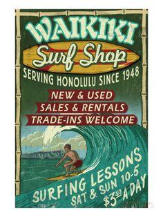 Waikiki Beach, Hawaii - Surf Shop Print