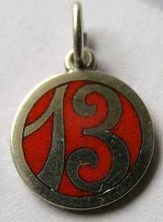 RARE ANTIQUE GERMAN SILVER & RED ENAMEL 'LUCKY' 13 THIRTEEN CHARM