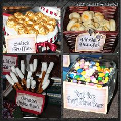Harry Potter recipes and decor: more inspiration for the wedding reception! I wouldn't do an entire Harry potter theme but the candy idea is cute Party Harry Potter, Harry Potter Snacks, Harry Potter Fiesta, Harry Potter Halloween Party, Harry Potter Baby Shower, Harry Potter Wedding, Harry Potter Birthday, Harry Potter Movies, Harry Potter Marathon