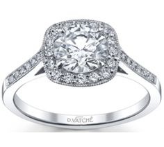 "Cushion Modified 0.8 Carat VS1 Platinum Vatche Engagement Rings, ""Grace"" Diamond Ring # 180"