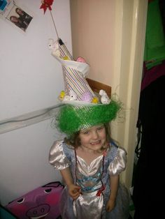 Eaater bunny and chick helter skelter bonnet my daughter and i made for her parade!
