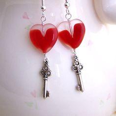 Key to My Heart Earrings - Valentine's Day Earrings - Steampunk Earrings with a heart & silver key - Valentine Jewelry