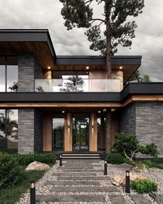 Modern Exterior House Designs, Modern House Facades, Modern Architecture House, Modern House Plans, Architecture Portfolio, Modern Houses, Best Modern House Design, Tropical Architecture, Minimalist House Design