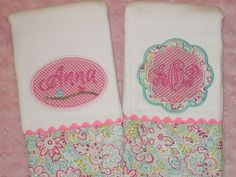 Items similar to Personalized Baby Girl Burp Cloths on Etsy Baby Embroidery, Baby Sewing Projects, Personalized Baby, Burp Cloths, Bibs, Little Ones, Baby Gifts, Toddlers, Applique