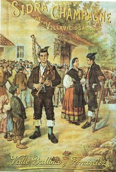 Antiguo anuncio de EL GAITERO, sidra champagne de Valle, Ballina y Fernández. Esta fábrica de Villaviciosa se fundó en 1882 y aún está en activo