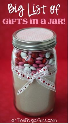BIG List of Gifts in a Jar Ideas and Recipes! ~ at TheFrugalGirls.com {you'll love these fun and creative gift ideas, cookie mixes, spa scrubs and more!}