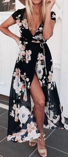 #summer #outfits / black flower print dress