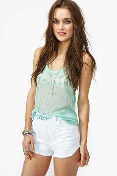 Slasher Flick Cutoff Short - White