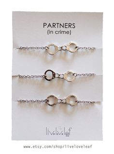 Matching Best Friends Bracelets - Set Of 3 Silver Tone Handcuffs Bracelets…