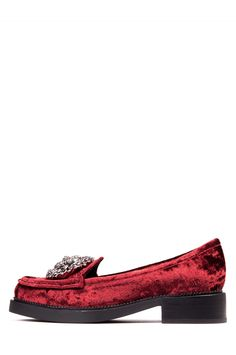 Jeffrey Campbell Shoes ADGER-ORN Red in Wine Crushed Velvet