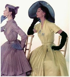 Bettina and Sophie Malgat in silk taffeta dresses by Jacques Fath, 1951 Photo by John Rawlings, published in US Vogue.