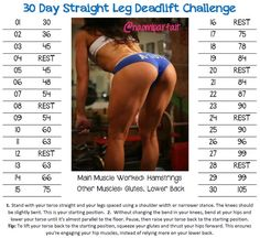30 Day Straight Leg Deadlift Challenge!!! 1. Stand with your torso straight and your legs spaced using a shoulder width or narrower stance. The knees should be slightly bent. This is your starting position.  2.  Without changing the bend in your knees, bend at your hips and lower your torso until it's almost parallel to the floor. Pause, then raise your torso back to the starting position.