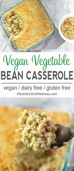 Vegetable Bean Casserole   This Vegetable Bean Casserole is creamy and delicious. Filled with brown rice, broccoli, carrots, and celery, you'll love this tasty meal. vegan casserole recipe, vegan bean casserole, gluten-free, dairy-free via @VNutritionist