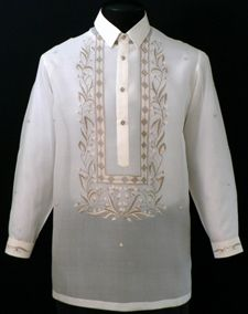 This Off-White Piña-Jusi Barong Tagalog shirt is a fresh update to formal occasions.        100% Jusi Fabric      Straight collar, cuff buttons      Traditional four-button front    Price:  $84.99