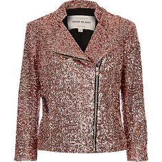 Pink sequin biker jacket - biker jackets - coats / jackets - women
