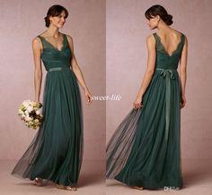 Elegant Emerald Green Long Bridesmaid Dresses 2016 Sheer V Neck Open Back Sash Floor Length Maid of Honor Dress Wedding…