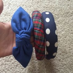 "Headbands Bundle 3 headbands for one great price. Super cute! Plaid: no brand, 16.5"" around. Blue with bow: Deborah Rhodes, 16.5"" around with minor pilling on bow (see pic). Polka dots: Laura Ashley, 16"" around, navy with white polka dots Laura Ashley Accessories Hair Accessories"