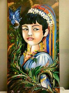 """arte naif,Ritratto thailandese"""" ( olio su tela ) by Dany Ispirato alle """"donne Giraffa"""" thailandesi dell""""etnia Padaung,"""