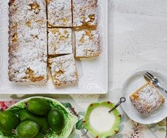 Feijoa crumble recipe - layers of delicious sweet pastry, feijoas, custard and crumble -combine to make an irresistible slice, perfect for an afternoon treat with a cup of tea Fejoa Recipes, Tart Recipes, Dessert Recipes, Cooking Recipes, Fruit Recipes, Guava Recipes, Nectarine Recipes, Recipies, Watermelon Recipes