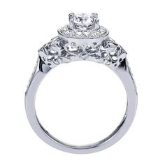 .78cttw Vintage Style Round Halo Diamond Engagement Ring from Mullen Jewelers