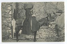 Portugal AZORES Acores Sidesaddle Donkey Sao Miguel Ethnic old 1910s postcard