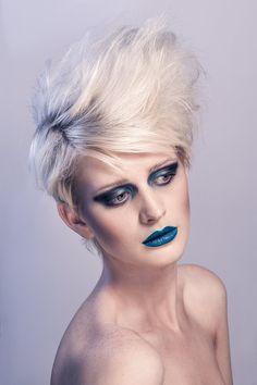 Creative beauty photo shoot using blue make-up and blue lighting. - www.captureimagery.co.uk
