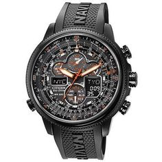 Citizen Eco-Drive Navihawk AT Mens Chrono - Black Dial, Case & Rubber Strap