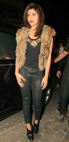 Priyanka Chopra at Sanjay Leela Bhansali's bash. #Bollywood #Fashion #Style #Beauty