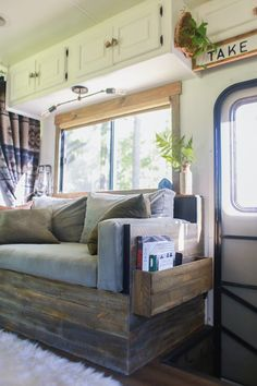 Small DIY Sofa with Storage for our RV – Mountain Modern Life Rv Living, Remodel, House, Home, Home Renovation, Diy Sofa, Renovations, Camper Living, Diy Camper Remodel