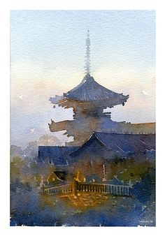 japan - 2 by Thomas W Schaller Watercolor ~ 12 inches x 9 inches