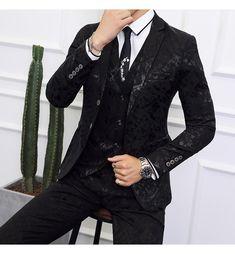 Black Suit Men Business Banquet Wedding Suits Jacket with Vest and Tro - HESHEONLINE
