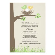 Yellow and Green Baby Bird's Nest | Baby Shower 5x7 Paper Invitation Card
