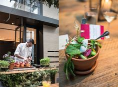 """Terra cotta pots filled with edible """"soil"""" and fresh, local vegetables create organic beauty on any tabletop. #LivingGrand 