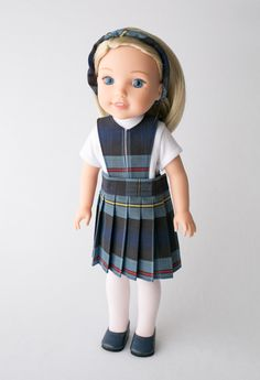 Doll Clothes School Uniform Lands End White Plaid fits 18 inch American Girl