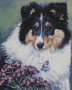 Tricolor Collie Pup Painting by L.A. Shepard