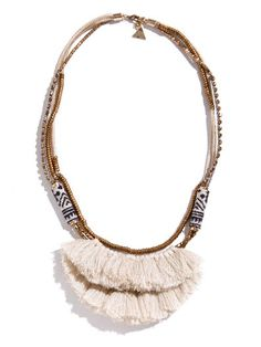 Serefina White Hmong Tassel Necklace