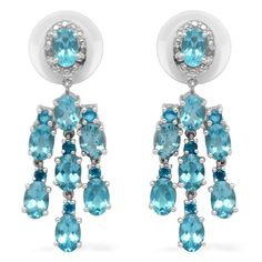 Liquidation Channel | Paraiba Apatite, Malgache Neon Apatite, and Diamond Earrings in Platinum Overlay Sterling Silver (Nickel Free)