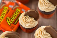 I did not have enough icing for all the cupcakes.//Reese's Peanut Butter Cupcakes with the fluffiest peanut butter frosting! Love this Recipe! Baking Cupcakes, Yummy Cupcakes, Cupcake Recipes, Baking Recipes, Cupcake Cakes, Dessert Recipes, Reese's Cupcakes, Dessert Food, Cupcake Ideas