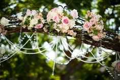 Wedding Canopy & Arches - A beautiful wedding arch decorated with bouquets of flowers and strings of jewels adds a special touch to your wedding ceremony. Wedding Set Up, Floral Wedding, Rustic Wedding, Wedding Flowers, Wedding Ideas, Wedding Stuff, Wedding Inspiration, Romantic Flowers, Wedding Pins