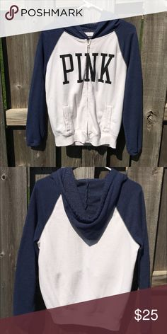 White and navy PINK zip up jacket Only worn a few times, great condition, white and navy Victoria secret PINK jacket. Comfy fit XS, so it would also fit a small perfectly PINK Victoria's Secret Jackets & Coats