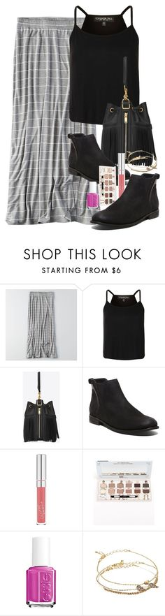 """Untitled #3006"" by abigailtaylor ❤ liked on Polyvore featuring American Eagle Outfitters, Topshop, Yves Saint Laurent, Steve Madden, TheBalm, Essie and ASOS"