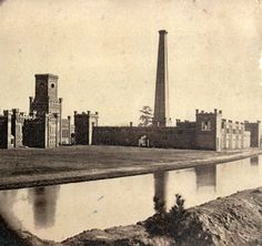 Confederate Power Works and Refinery, Augusta, GA. The works supplied 3 million pounds of gunpowder for Southern forces during the American Civil War. Powder Works buildings stretched for two miles along both sides of the canal.
